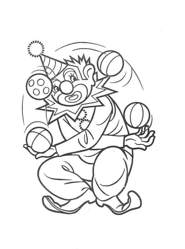 Coloriage et dessins gratuits Le clown jongle avec plusieurs boules à imprimer