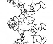 Coloriage Trois clowns dansent