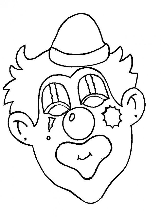 Coloriage et dessins gratuits un clown au visage maquillé à imprimer