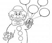 Coloriage et dessins gratuit Un clown avec des ballons à imprimer