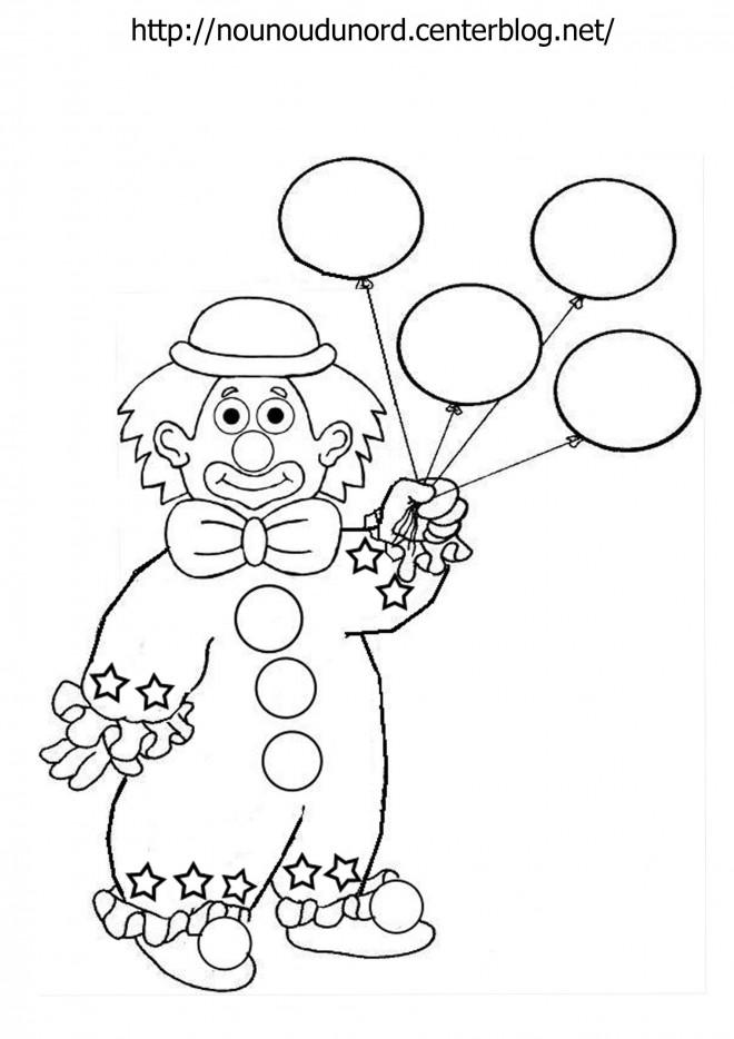 Coloriage un clown avec des ballons dessin gratuit imprimer - Tete de clown a imprimer ...