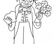 Coloriage Un clown avec un bouquet de fleurs et un coeur dans ses mains