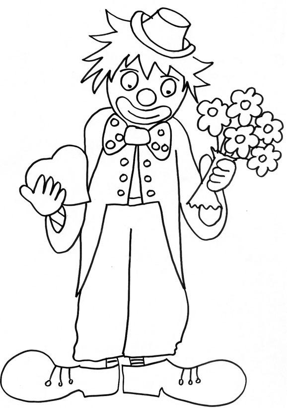 Coloriage et dessins gratuits Un clown avec un bouquet de fleurs et un coeur dans ses mains à imprimer