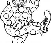 Coloriage Un clown danse avec un canard et une parapluie