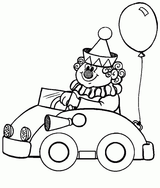 Coloriage Un Clown Drole Conduit Sa Voiture
