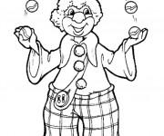 Coloriage Un clown jongle avec des boules