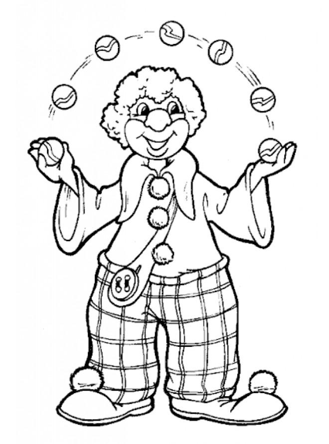 Coloriage et dessins gratuits Un clown jongle avec des boules à imprimer