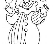 Coloriage Un clown joue avec des boules