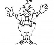 Coloriage Un clown lève ses mains
