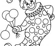 Coloriage Un clown tient des ballons