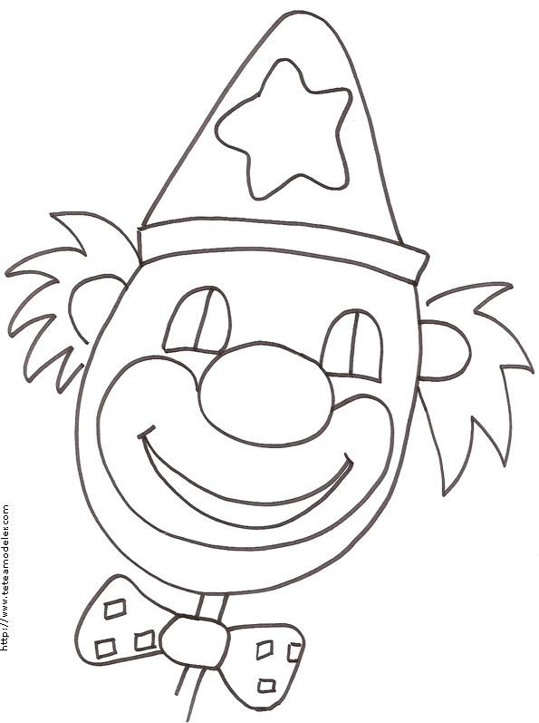 Coloriage un visage de clown souriant dessin gratuit - Tete de clown a imprimer ...