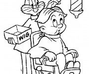 Coloriage et dessins gratuit Bugs Bunny entrain de coiffer son client à imprimer
