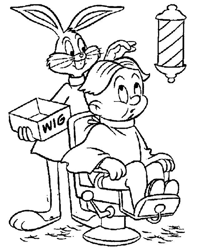 Coloriage et dessins gratuits Bugs Bunny entrain de coiffer son client à imprimer