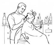 Coloriage Coiffeur coupe les cheveux d'un garçon