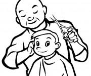 Coloriage Coiffeur et enfant