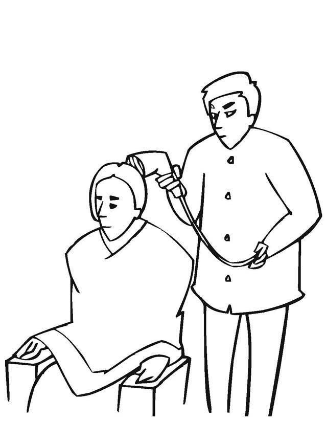Coloriage Coiffeur sèche les cheveux d'un client