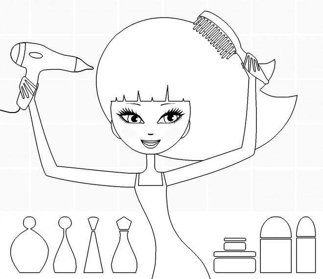 Coloriage coiffure pour fille dessin gratuit imprimer - Dessin de coupe de cheveux ...