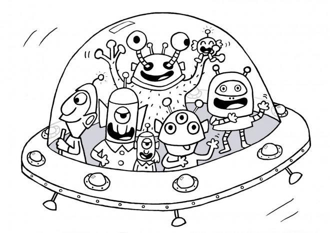 Coloriage et dessins gratuits Aliens dans une soucoupe à imprimer