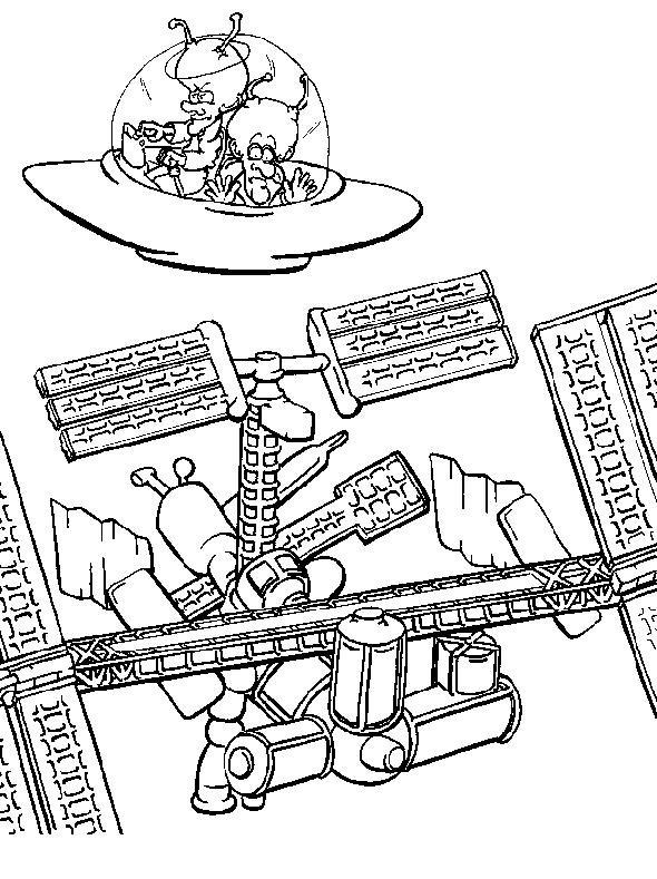 Coloriage et dessins gratuits Aliens et Navette à imprimer