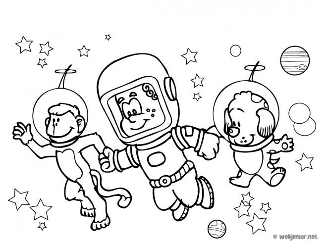 Coloriage et dessins gratuits Animaux Astronautes à imprimer