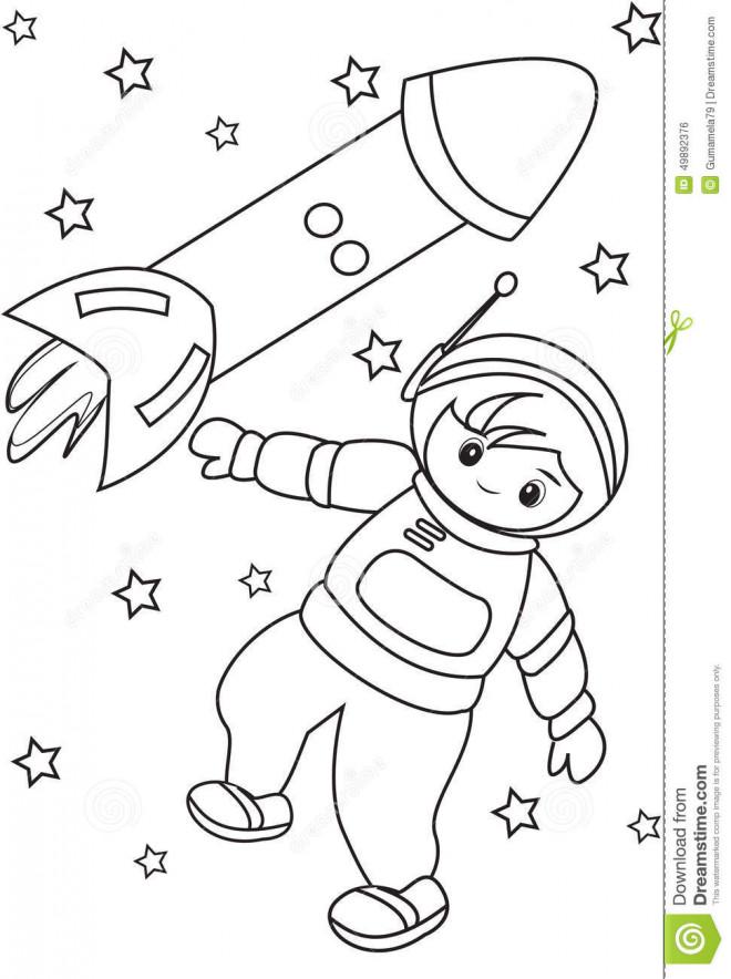 Coloriage et dessins gratuits Astronaute et fusée à imprimer