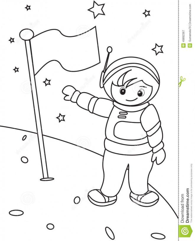 Coloriage et dessins gratuits Astronaute lune à imprimer