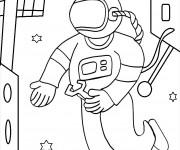 Coloriage Cosmonaute fait des réparations