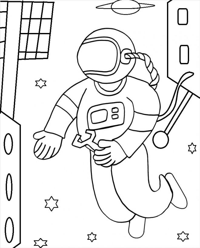 Coloriage et dessins gratuits Cosmonaute fait des réparations à imprimer