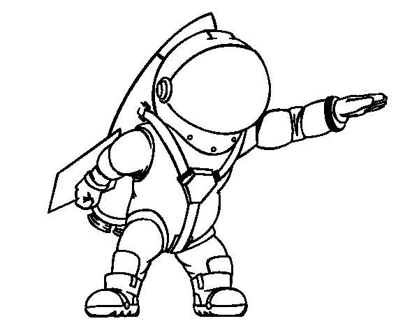Coloriage et dessins gratuits Cosmonaute portant son casque à imprimer