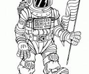 Coloriage Cosmonaute porte le drapeau des états unies