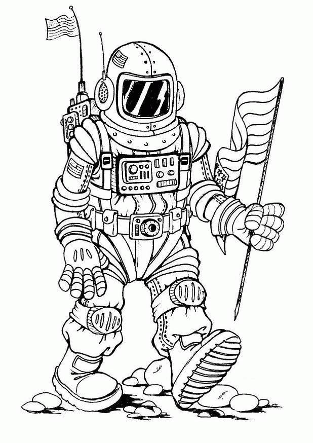Coloriage et dessins gratuits Cosmonaute porte le drapeau des états unies à imprimer