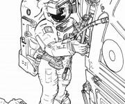 Coloriage et dessins gratuit Cosmonaute répare le système de vaisseau à imprimer