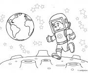 Coloriage dessin  Cosmonaute saute sur la Lune