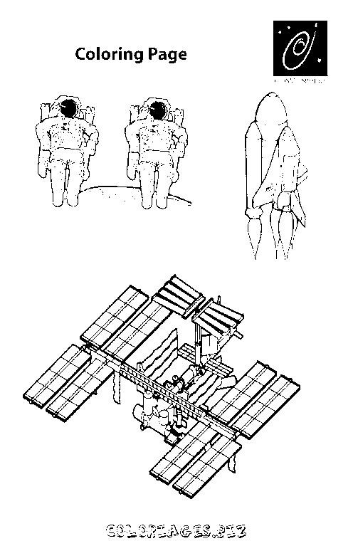 Coloriage et dessins gratuits Cosmonautes et navette spatiale à imprimer