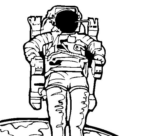 Coloriage et dessins gratuits Le Cosmonaute sort de vaisseau spatial à imprimer
