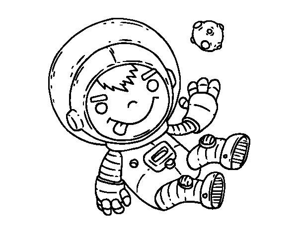 Coloriage et dessins gratuits Le petit garçon Cosmonaute découvre  les planètes à imprimer