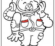 Coloriage et dessins gratuit Ours cosmonaute pour enfant à imprimer