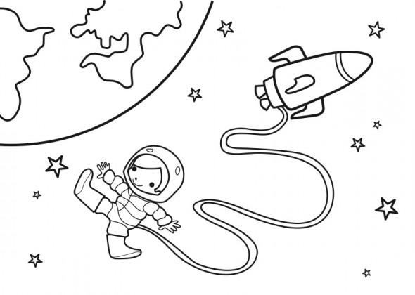 Coloriage et dessins gratuits Petite fille Cosmonaute à imprimer
