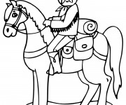 Coloriage Cheval Cowboy