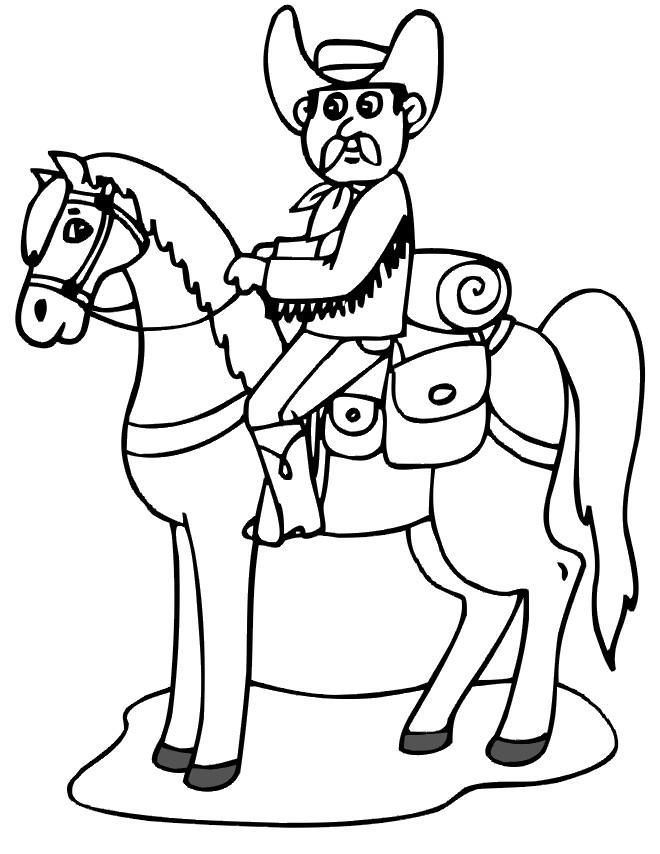 Coloriage cheval cowboy dessin gratuit imprimer - Dessin de cowboy ...