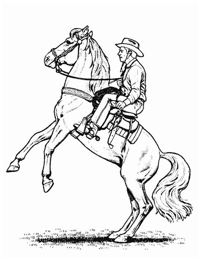 Coloriage et dessins gratuits Cheval de Cowboy portrait à imprimer