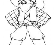 Coloriage et dessins gratuit Cowboy avec le visage masqué à imprimer