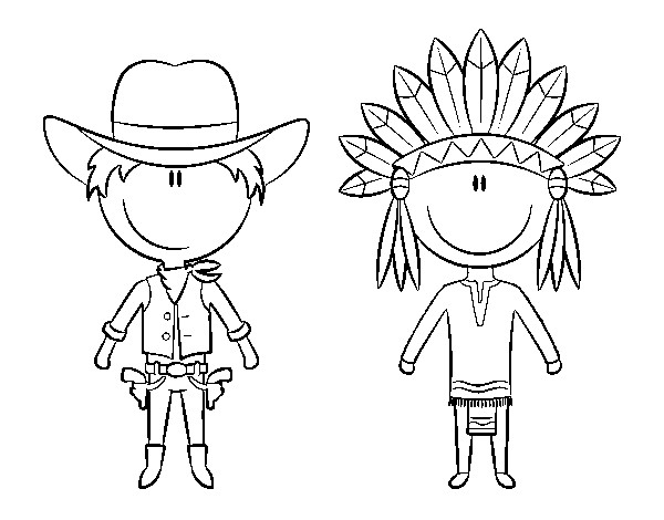Coloriage Cowboy Et Indien Dessin Gratuit à Imprimer