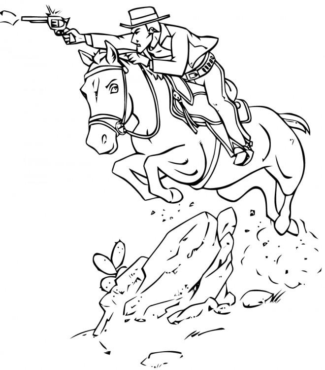 Coloriage Cowboy Et Le Cheval Rapide Dessin Gratuit à Imprimer