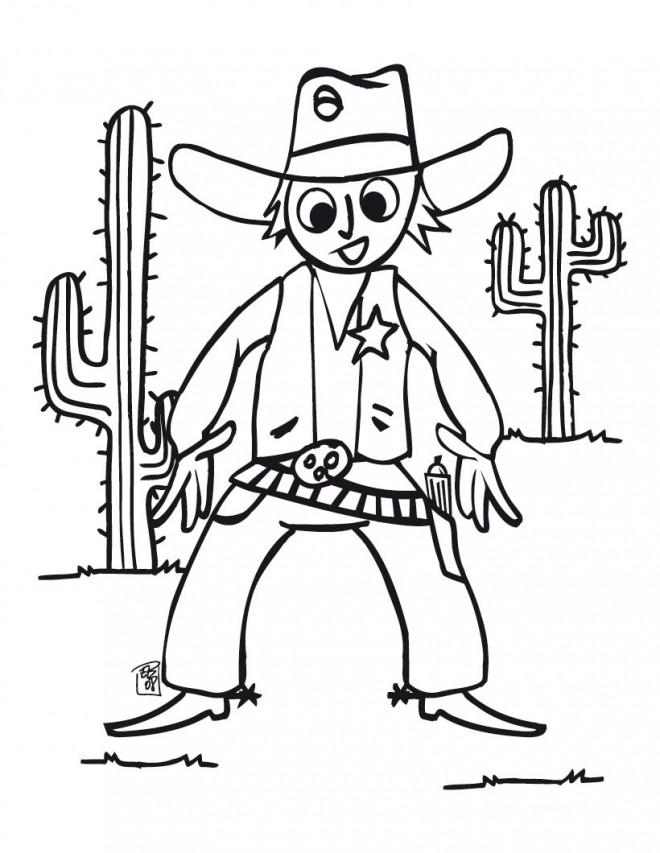 Coloriage cowboy facile dessin gratuit imprimer - Dessin de cowboy ...
