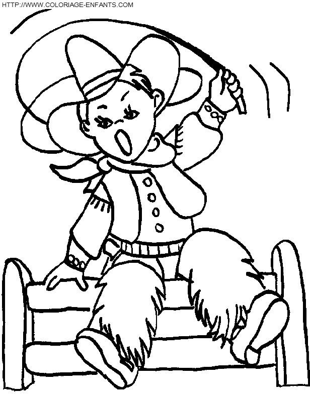 Coloriage Cowboy garçon dessin animé