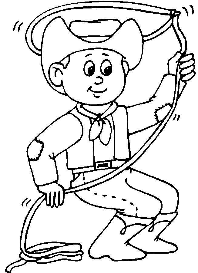 Coloriage et dessins gratuits Cowboy jetant le lasso à imprimer
