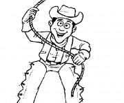 Coloriage Cowboy lance sa corde