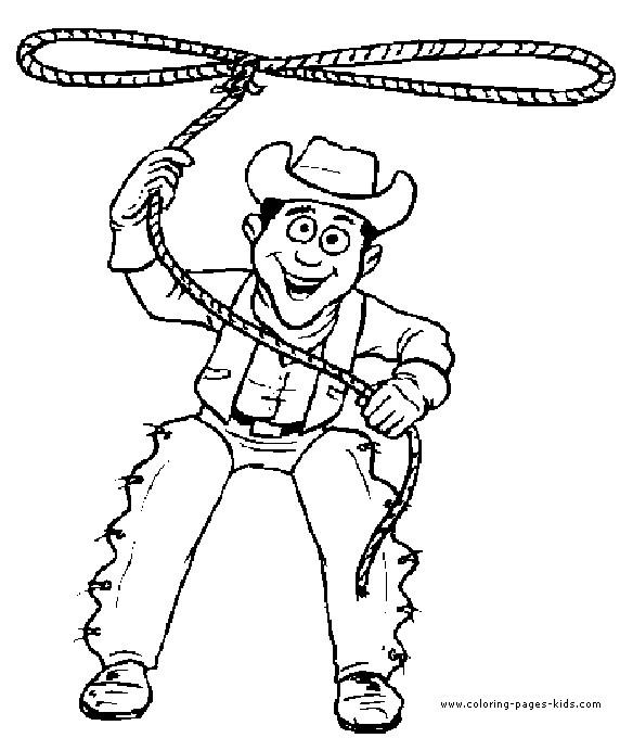 Coloriage et dessins gratuits Cowboy lance sa corde à imprimer