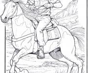 Coloriage Cowboy sur son cheval